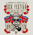 poster for a rock music festival with skull vector image vector image