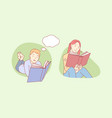 reading children literature study thought vector image