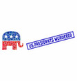rectangle mosaic republican elephant with textured vector image vector image