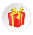 Red gift box with yellow ribbon icon cartoon style vector image