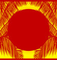red sun and palm tree silhouette over yellow vector image vector image