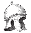 Roman legionnaires helmet engraving vector image