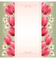 Romantic spring background with tulips vector image vector image