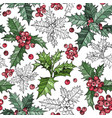 seamless pattern with christmas flowers plants vector image