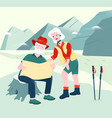 senior couple is exploring map in mountains vector image vector image