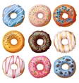 set cartoon donuts isolated on white background vector image