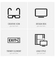 set of 4 editable cinema icons includes symbols vector image