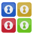 set of four square icons with keyhole vector image vector image