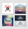 set of merry christmas and happy new year 4 vector image vector image