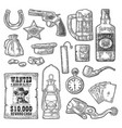 set with wild west and casino symbols vector image vector image