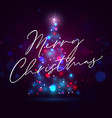 shining merry christmas tree background vector image