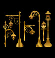 street lamp road lights golden vector image
