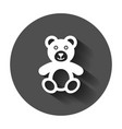 teddy bear plush toy icon with long shadow vector image vector image