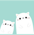 two white cat head face silhouette family set vector image vector image