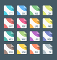 various color flat style minimal file formats vector image