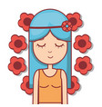Woman hippie relaxing with flowers vector image