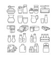 set of cute dairy icon isolated on whi vector image