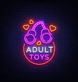 adult toys logo in neon style design template vector image
