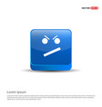 angry face smile icon - 3d blue button vector image