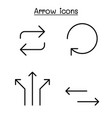arrow icon set in thin line style vector image vector image