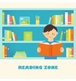 Boy Reading a Book against Library Bookshelves vector image vector image