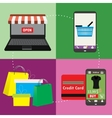 Business concept set of online shopping internet vector image