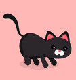 cartoon black cat stalk pink background ima vector image vector image