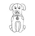 cartoon dog with collar sitting pet animal vector image