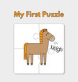 cartoon horse puzzle template for children vector image vector image