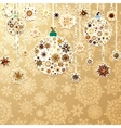 Christmas gold with baubles EPS 8 vector image