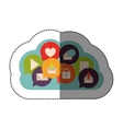 color sticker with cloud service and social vector image