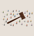 crowd and gavel hammer symbol concept of social vector image