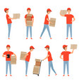 delivery characters pizza food packages loader vector image