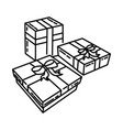 festive gift icon doodle hand drawn or outline vector image