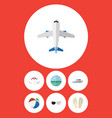 flat icon summer set of aircraft sphere boat and vector image vector image