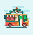 food truck festival menustreet food vehicles flat vector image