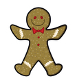gingerbread man christmas cartoon icon vector image vector image