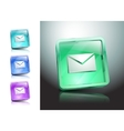 glass icons set green messaging e-mail vector image