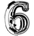 Grunge font number 6 vector image vector image
