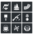 Guerrillas warrior icons set vector image