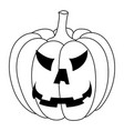 halloween pumpkin carved angry face black and vector image vector image