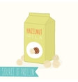 hazelnut milk in a carton pack vector image vector image