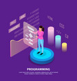 human programming isometric background vector image vector image