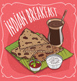 indian breakfast with flatbread and masala chai vector image vector image