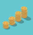 isometric dollar coins stacks vector image