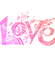 LOVE pink doodles vector image vector image