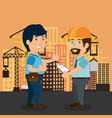 men builders characters working vector image
