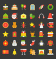 merry christmas icon set 4 flat style vector image