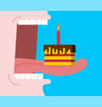 open mouth eats birthday cake piece cake with vector image