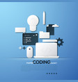paper concept of coding front and back end vector image